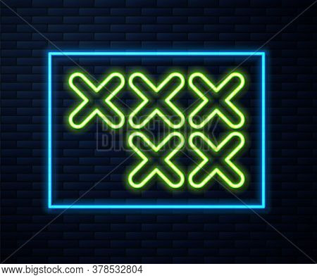 Glowing Neon Line Adjustable Embroidery Hoop Icon Isolated On Brick Wall Background. Thread And Need