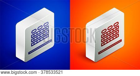 Isometric Line Cinema Auditorium With Screen And Seats Icon Isolated On Blue And Orange Background.
