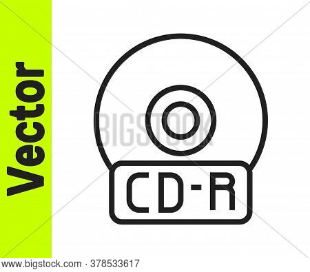 Black Line Cd Or Dvd Disk Icon Isolated On White Background. Compact Disc Sign. Vector Illustration