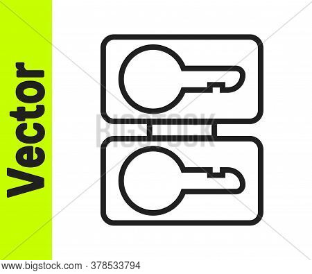 Black Line Metal Mold Plates For Casting Keys Icon Isolated On White Background. Set For Mass Produc