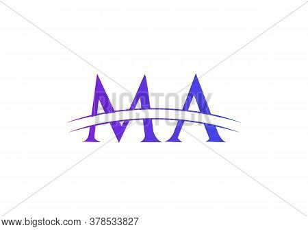 Initial Ma Logo Design Swoosh. Vector Ma Logo For Business And Company Identity