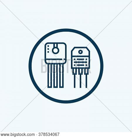 Power Transistor Microchip Vector Icon. Filled Flat Sign For Mobile Concept And Web Design. Electric