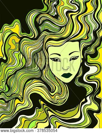 Young Woman With Green Yellow Black Hair. Beautiful Surreal Face Girl.