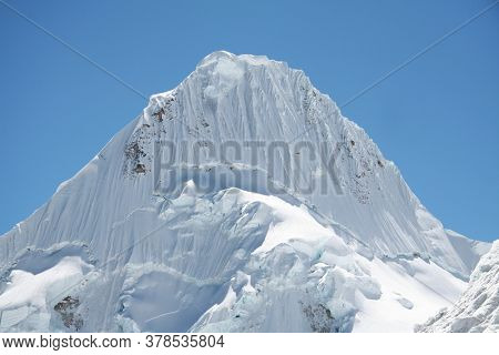 Beautiful peak Alpamayo in the Cordillera mountains, Peru, South America