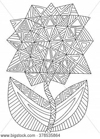 Assymetrical Blossom Geometrical Flower Coloring Page For Kids And Adults Stock Vector Illustration.