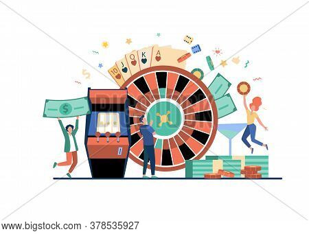People Playing Poker And Winning Money. Gamblers With Roulette, Slot Machine, And Chips. Vector Illu