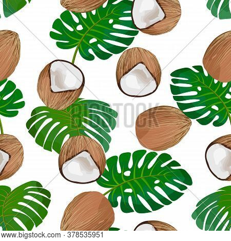 Coconuts And Tropical Leaves In A Pattern.ripe Coconuts And Palm Leaves On A White Background In A C