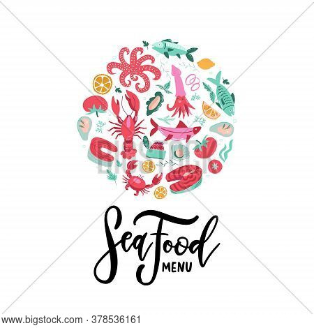 Vector Hand Drawn Seafood Banner With Lettering Seafood Menu. Colored Lobster, Salmon, Crab, Shrimp,