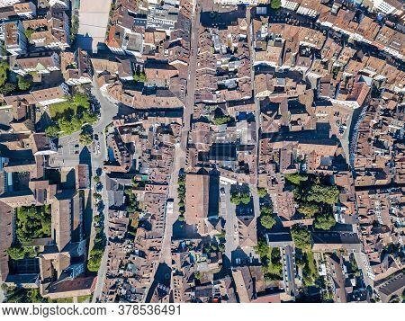 Aerial Panorama View Of The Old Swiss Town Schaffhausen, Switzerland