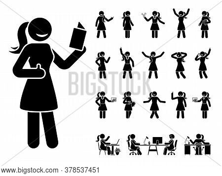 Stick Figure Woman Different Poses, Emotions Face Design Vector Icon Set. Reading, Talking, Happy, S