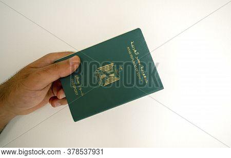 Dubai / Uae - June 11, 2020: Egyptian Passport In Male Hand. Man Hand Is Passing Egypt International