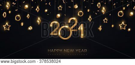 2021 Gold Numbers With Stars And Baubles Hanging On Black Background. Vector Illustration. Minimal I