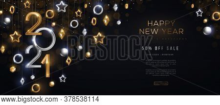 2021 Silver And Gold Numbers With Crystal Baubles Hanging On Black Background. Vector Illustration.