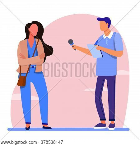Male Journalist Interviewing Young Woman. Microphone, Question, Dialog Flat Vector Illustration. Sho