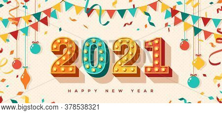 Happy New Year 2021 Card Or Banner With Typography Design. Vector Illustration With Retro Light Bulb