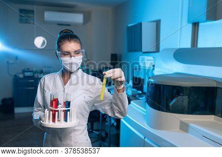 Woman Scientist Chemist Working In Modern Laboratory