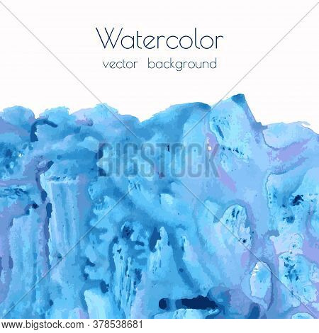 Navy Blue, Indigo Marble Watercolor Texture Background With Dry Brush Stains, Strokes, Spots On Whit