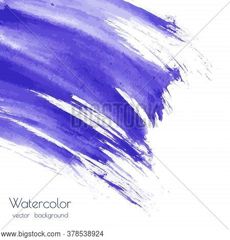 Vector Violet, Navy Blue, Indigo Watercolor Texture Background, Dry Brush Stains, Strokes, Spots Iso