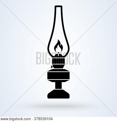 Kerosene Lamp. Vector Simple Modern Icon Design Illustration.