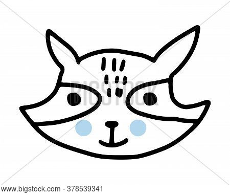 Raccoon Doodle. Hand Drawn Lines Cartoon Vector Illustration Isolated On White Background