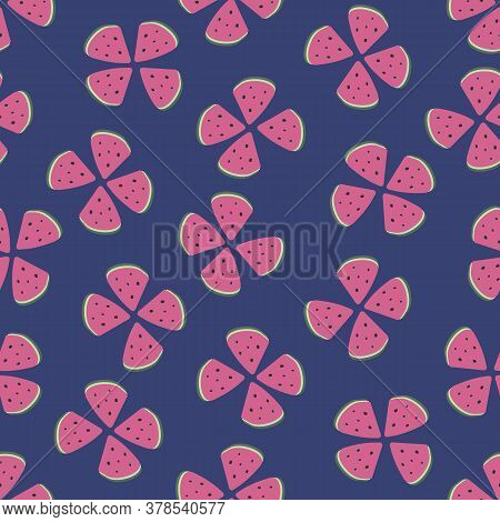 Floral Shapes Made Of Watermelon Slices Seamless Vector Pattern. Girly Summertime Surface Print Desi