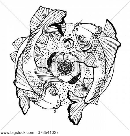 Illustration For Tattoo With Two Fish And Yellow Water Lily In Pond. Yin And Yang Sign. Symbol Of Da