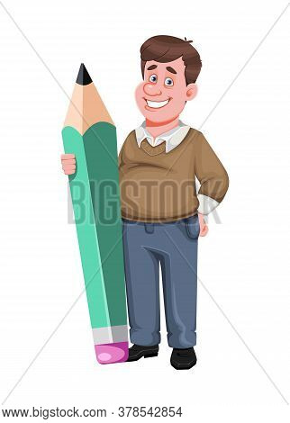 Back To School. Cheerful Male Teacher Holds Big Pencil. Handsome Teacher Cartoon Character. Vector I