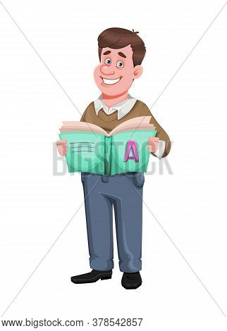 Back To School. Cheerful Male Teacher Holds Abc-book. Handsome Teacher Cartoon Character. Vector Ill