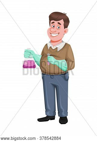 Back To School. Cheerful Male Teacher Of Chemistry Holds Flask. Handsome Teacher Cartoon Character.