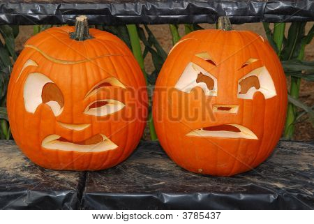 Two Carved Pumpkins.
