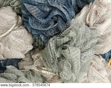 Washcloths From A Grid Of Pastel Tones For The Background, Decoration Themes Beauty, Health, Body Ca