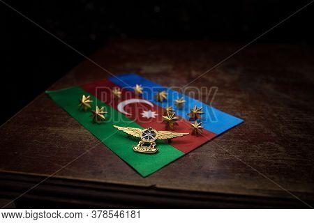 Baku. Azerbaİjan – 27.07.2020 - Azerbaijan Army Signs On Table With Backlight. Azerbaijan National A