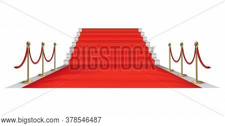 Red Carpet Golden Barriers. Exclusive Event. Red Carpet With Stairs Red Ropes And Golden Stanchions.