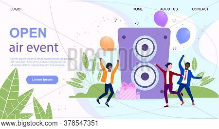Music Festival Web Page Template With Tiny Dancing People And A Big Speaker On A Background. Open Ai
