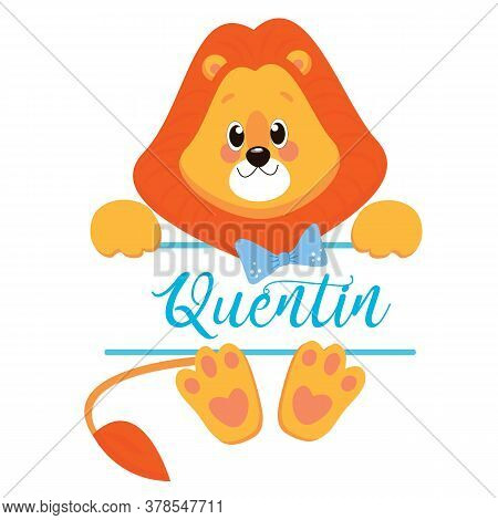Cartoon Illustration Of Sitting Lion Cub. Isolated Over White.