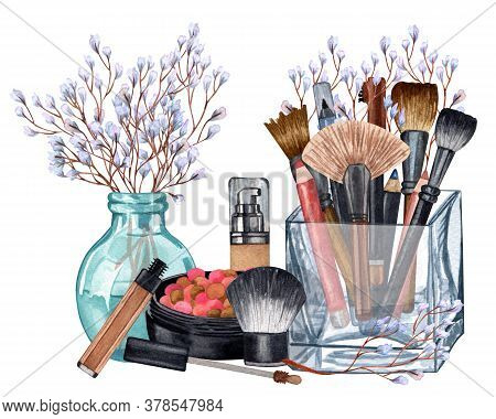 Watercolor Make Up Products. Hand Drawn Cosmetics Set Of Pearl Powder, Brushes In A Glass Holder, Po