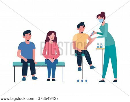 Turn Of Children For Vaccination. Vaccination Of Children Against Various Diseases, Including The Co