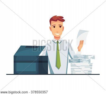 Office Documents Copier. Office Worker Prints Documents On The Copier. Man Works On A Photocopier. C