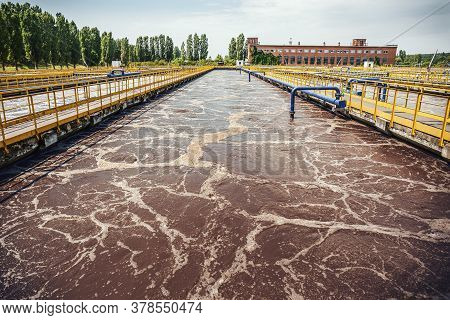 Water Treatment Tank With Waste Water, Aeration Process.