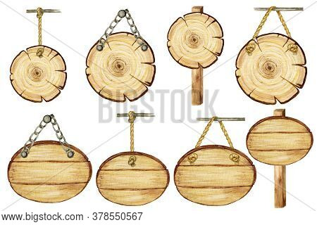 Watercolor Wooden Oval, Circle Signboard On Ropes, Chains, Pillar Empty Blank Isolated. Vintage Old
