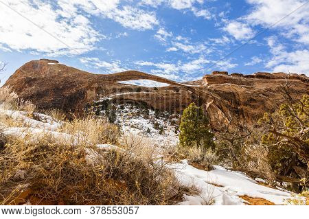 View On Wall Arch In The Arches National Park In Utah In Winter