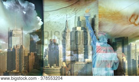 America NYC with Statue of Liberty. 3D rendering