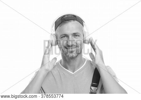Only Music That Matters. Happy Man Listen To Music Isolated On White. Handsome Guy Wear Headphones P