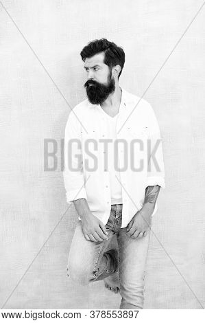 Fashion Clothes. Attractive Guy Wall Background. Summer Fashion. Bearded Model Casual Outfit. Fashio