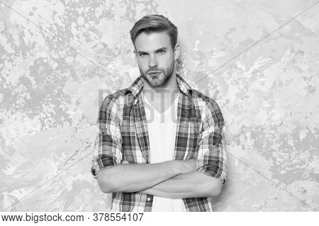 Wardrobe For Confidence And Personal Style. Confident Man Keep Arms Crossed. Confident Look Of Hands