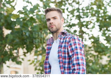 Summer Is Here. Handsome Guy Summer Outdoors. Summer Fashion. Casual Style. Modern Lifestyle. Trendy