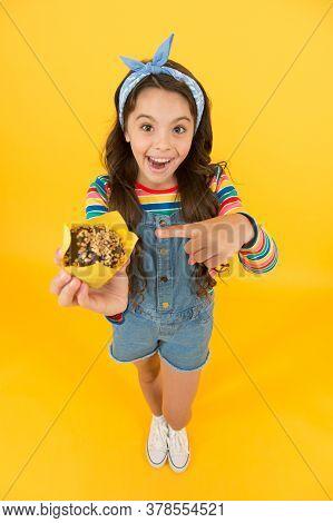 Girl Enjoy Favorite Sugary Treats, Baking Cupcake Concept.