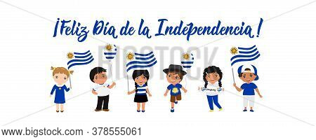 Text In Spanish: Happy Independence Day. Lettering. Vector Illustration. Design Concept Independence