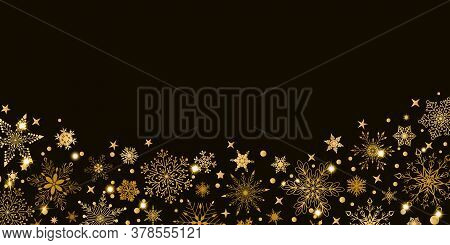 Christmas Background With Various Complex Big And Small Snowflakes, Yellow On Black