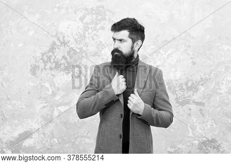 Bearded Guy Casual Style. Fashionable Look Of Busy Man. Menswear. Elegant Stylish Hipster. Bearded M